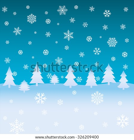 Winter background with firs and snowflakes. Christmas backdrop. Vector illustration. - stock vector