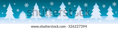 Winter background with firs and snowflakes. Christmas web banner. Vector illustration. - stock vector