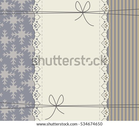 Winter Background Frame Bows Lines Snowflakes Stock Vector 534674650 ...
