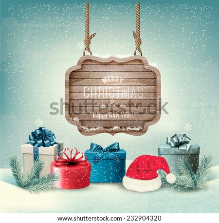 Winter background with gift boxes and a wooden ornate Merry christmas sign. Vector. - stock vector
