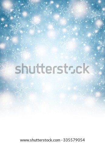 Winter background with lights and snowflakes. Vector illustration. - stock vector