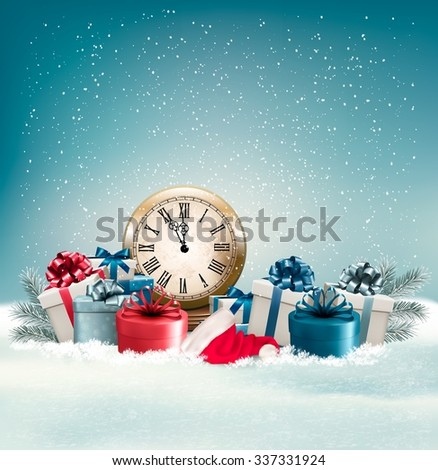 Winter background with presents. Vector. - stock vector