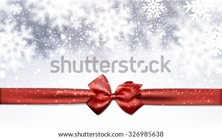 Winter background with red bow. Vector Illustration. - stock vector