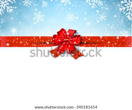Winter background with red bow. Vector Illustration . Christmas card,invitation,background,design template.  concept for greeting or postal card - stock vector