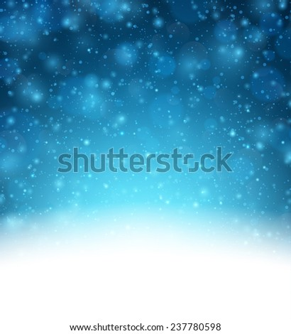 Winter background with snow. Christmas blue defocused illustration. Eps10 vector.   - stock vector