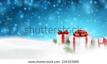 Winter background with snow. Gift boxes. Christmas blue defocused illustration. Eps10 vector.  - stock vector
