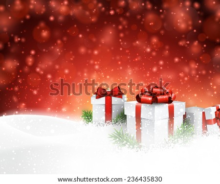 Winter background with snow. Gift boxes. Christmas red defocused illustration. Eps10 vector.  - stock vector