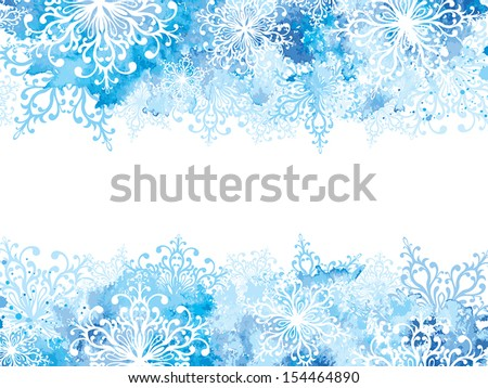 Winter background with snowflakes and hand drawn watercolor elements - stock vector