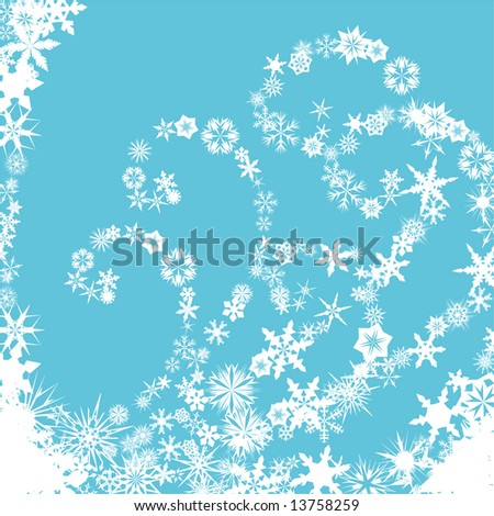 Winter background with snowflakes forming spiral patterns on blue background - stock vector
