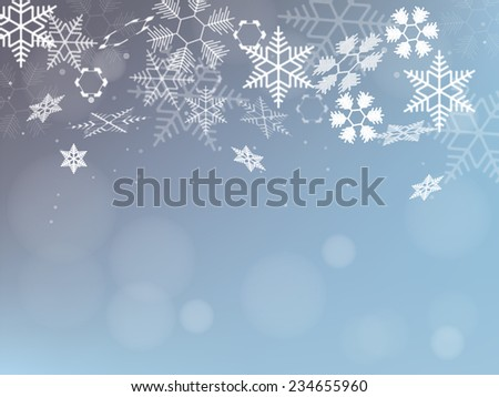 Winter Background with Snowflakes. Holiday Design. Vector. - stock vector