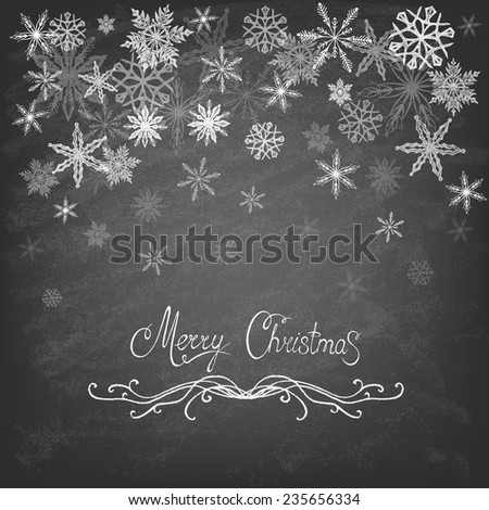 Winter Background with Snowflakes on the blackboard. Winter. Vector illustration.  - stock vector
