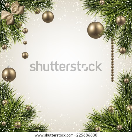 Winter background with spruce twigs and golden baubles. Christmas vector frame. Eps10.  - stock vector