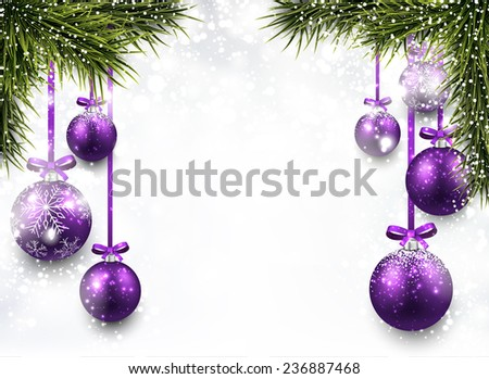 Winter background with spruce twigs and purple baubles. Christmas vector frame. Eps10.  - stock vector