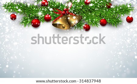 Winter background with spruce twigs and red baubles. Golden bells. Christmas vector illustration with place for text.  - stock vector