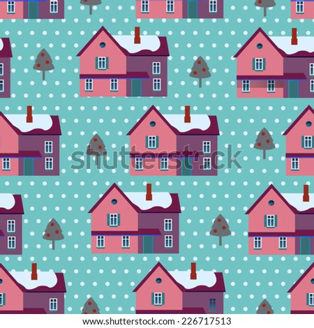 winter background with violet houses