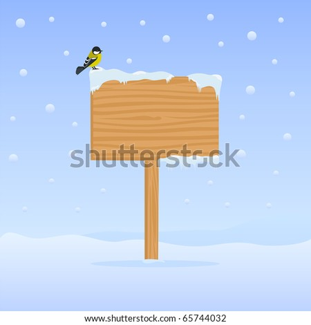 Winter background with wooden billboard and bird on it - stock vector
