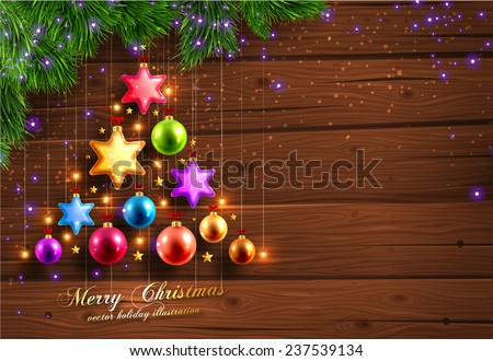 Winter Background. Wood Texture. Christmas Balls. Spruce Twigs and Xmas Lights. - stock vector