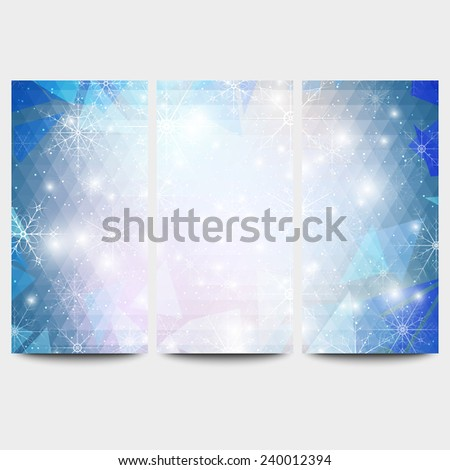 Winter backgrounds set with snowflakes. Abstract winter design and website templates, abstract pattern vector. - stock vector
