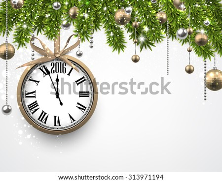 Winter banner with spruce twigs and golden baubles. Christmas vector illustration with place for text.    - stock vector