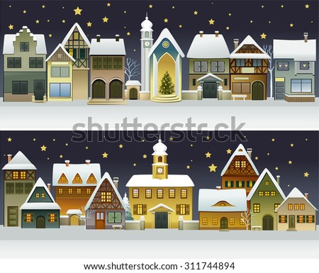 Winter banners with cartoon houses  - stock vector