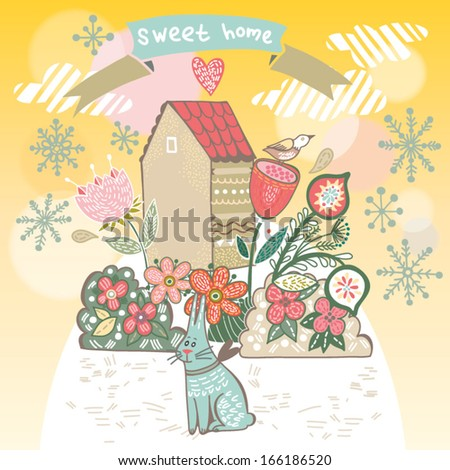 "Winter Beautiful background ""Sweet home"" with cute bird, flowers, bunny and hand drawn letters. Bright illustration, can be used as creating card, invitation card and cute winter background. - stock vector"