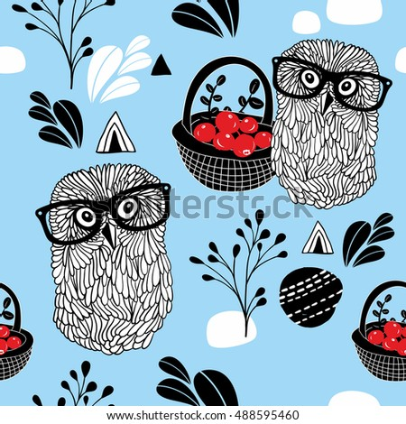 Winter berries seamless background with clever owls in sunglasses. Vector pattern.