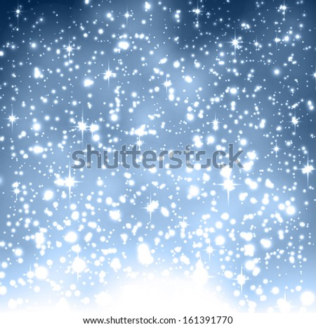 Winter blue background with crystallic snowflakes. Christmas decoration. Vector. - stock vector
