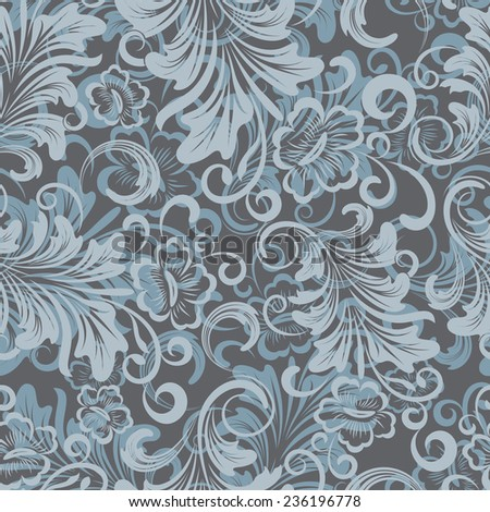 Winter blue floral wrapping paper vector pattern. - stock vector