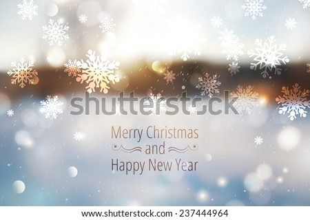 Winter blurred background, snowy landscape. Merry christmas and happy new year - stock vector