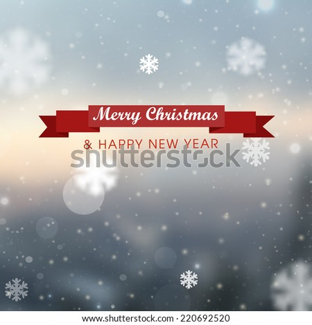 Winter blurred bokeh background with glowing snowflakes.Great holiday design for New Year greeting cards, posters and flyers, etc - stock vector