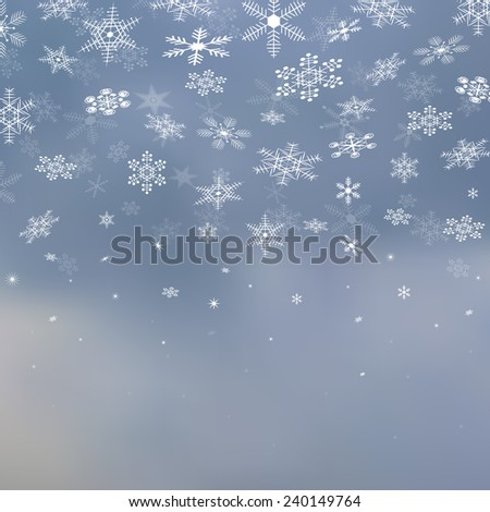 Winter Blurred Sky with Falling Snow vector background. Christmas & New Year vector decoration design, winter UI background for gadgets & web sites, wallpaper. Backdrop with snowflakes. Snowflake set. - stock vector