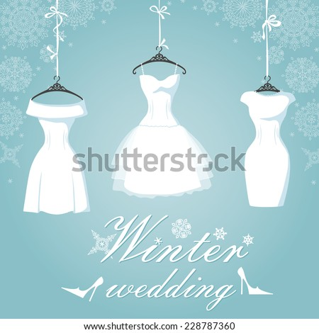 Winter Bridal shower .Three wedding dresses with short skirt hang on ribbons.Falling Snowflake background.Winter Fashion vector Illustration - stock vector