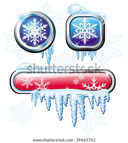 Winter buttons - stock vector