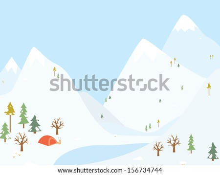 Winter camping wooden with tent. Vector illustration - stock vector