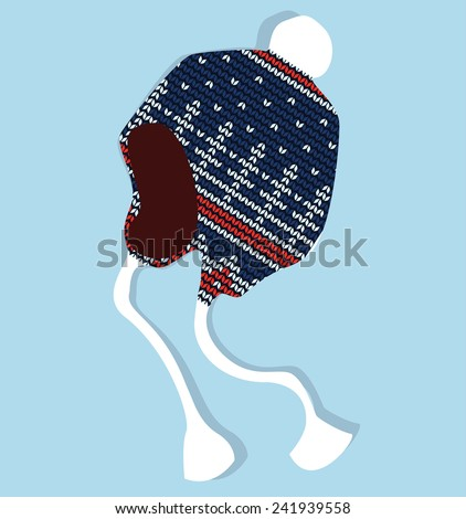 Winter cap knitted with jacquard vector isolated - stock vector