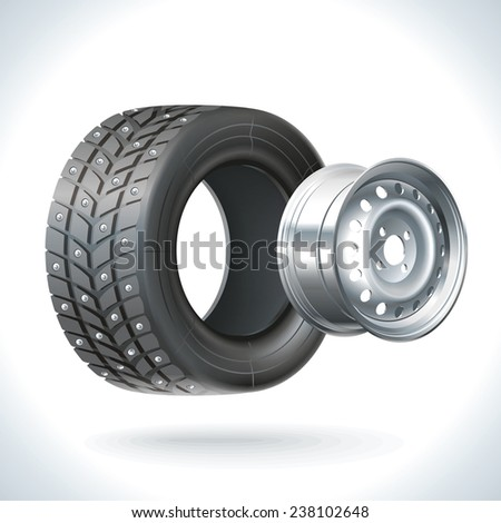 Winter car wheel unassembled - tires and wheels on the same axle - stock vector