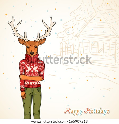 Winter card, Fashion deer on the street