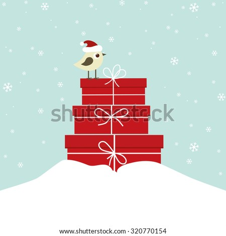 Winter card with bird and gift boxes - stock vector