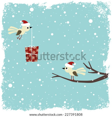 Winter card with birds and gift box - stock vector