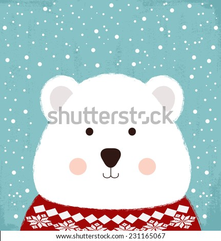 winter card with cute bear
