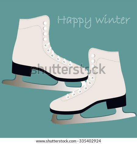 Winter card with ice skates