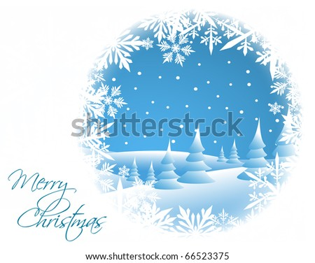 Winter card with snowy landscape and white snowflakes - stock vector