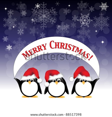 Winter cartoon penguins wearing Santa hats and holding a Merry Christmas banner against a night sky of stars and snowflakes. EPS10 vector format. - stock vector