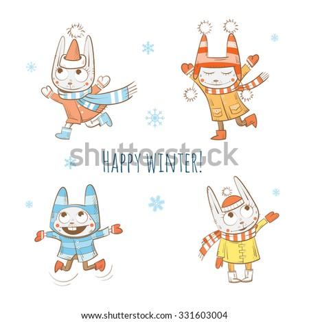Winter cartoon rabbits set. Vector image. - stock vector