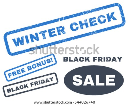 Winter Check rubber seal stamp watermark with bonus design elements for Black Friday offers. Vector smooth blue emblems. Tag inside rectangular shape with grunge design and dust texture.