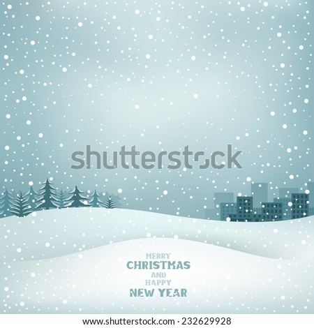 Winter Christmas background, snow, forest and the city on the horizon - stock vector