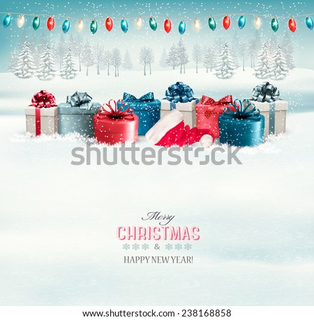 Winter christmas background with presents and a garland. Vector. - stock vector