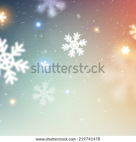 Winter Christmas Blurred Bokeh Background with Glow Snowflakes. Holiday Design for New Year Greeting Cards, Posters and Flyers. Vector. - stock vector