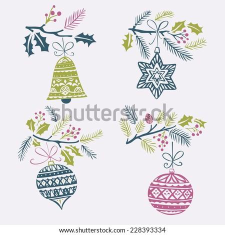 Winter & Christmas Card Design - stock vector