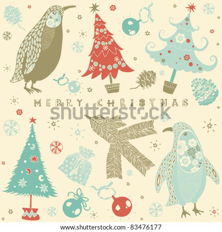 Winter Christmas card with penguin - stock vector